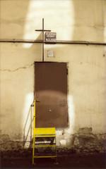not what is written on the door (aleckurgan) Tags: door stairs fuji cross wide praha instant fujifilm vltava instax 210