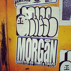 AMUSE x MORGAN (billy craven) Tags: chicago de graffiti sticker tag slap morgan amuse handstyles uploaded:by=instagram