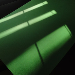 blind and green card (Philip Watson) Tags: sunlight green shadows card blinds venetianblind