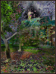 Magnolias Swooning (Tim Noonan) Tags: trees windows house colour texture digital photoshop garden spring estate branches blossoms magical magnolias hypothetical vividimagination artdigital greenscene shockofthenew stickybeak sharingart awardtree maxfudgeawardandexcellencegroup magicunicornverybest magiktroll exoticimage netartii donnasmagicalpix kreativepeople digitalartscenepro