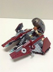 Obi Wan's Eta II Jedi Starfighter (John_Fett) Tags: red 2 star fly wings fighter ship republic lego maroon awesome jedi obi wars genius minifig wan clone eta figs droid gunship kenobi separatist starfighter 7283 ultimatespacebattle