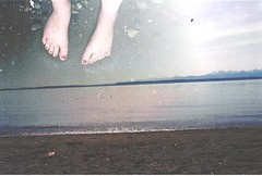 142/365 (Alex May.5) Tags: ocean travel light sea sky texture film feet beach nature 35mm photography sand hands soft waves minolta legs artistic doubleexposure horizon overcast eerie minimal explore human shore montage pacificnorthwest endless ocecan teenagephotographer 365dayproject ethereality