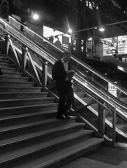 suit descending a staircase (mr smith505) Tags: people bw hamburg sw hbf personen