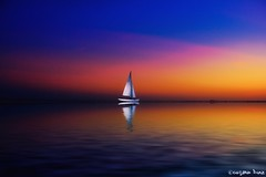 The sky is an infinite movie to me. (gusdiaz) Tags: sunset sunrise summer sail water reflection photoshop photomanipulation composite amanecer atardecer reflejo bote agua digital art arte colorful colorido serene relaxing sereno vacation