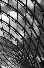 In The Nautilus (Ren-s) Tags: blackandwhite noiretblanc minimalist clouds nuages ciel sky courbes curves metal metallic armature windows fentre belgique belgium europe design