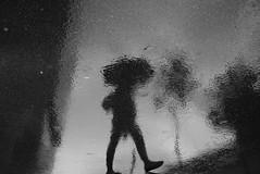 Summer rain (maekke) Tags: zrich reflection rain woman umbrella primetower kreis5 hardbrcke sbb zvv bw noiretblanc urban architecture 2016 ch switzerland fujifilm x100t