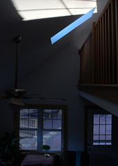 Between worlds (goldengirl 2011) Tags: morningbluehour morninglight cabin betweenworlds indoor ashevillenc ashevillenorthcarolina katharinehanna architecture windows skylight bluehour shadows 2001aspaceodyssey
