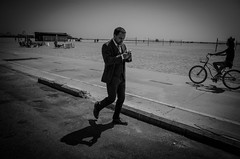 suit on the beach (dustin.gebhard) Tags: deadbeatgallery streetphotography ricohgr losangeles santa monica beach suit walking blackwhite monochrome