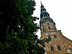 Tower of St.Peter's Church in Old Town of Riga, Latvia. August 14, 2016 (Vadiroma) Tags: riga latvia europe summer 2016 rga latvija baltic stpeterschurch protestant tower spire clock