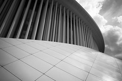 The Longing (toletoletole (www.levold.de/photosphere)) Tags: luxemburg luxembourg fuji fujixpro2 xpro2 bw sw architektur architecture philharmonie philharmonia sky clouds himmel wolken