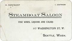 Steamboat Saloon card, circa 1905 (Seattle Municipal Archives) Tags: seattlemunicipalarchives seattle pioneersquare saloons taverns bars businesscards ephemera 1900s