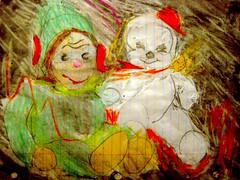 Plush Life (giveawayboy) Tags: pencil crayon drawing sketch art acrylic paint painting fch tampa artist giveawayboy billrogers plush life monkey snowman dolls keepinitreal