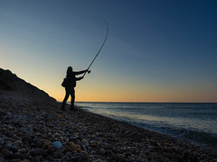 Dawn Cast (JamesPyle) Tags: lymeregis beach family bate fishing samanthapyle olympus axmouth omd em1 1240mm harbour cast