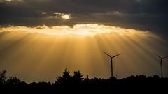 The lights in the sky (Saarblitz) Tags: licht leuchten himmel wolken strahlen windrder turbine bume natur outdoor