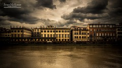 Golden Arno. (Jean McLane) Tags: firenze arno darksky clouds cloudy hdr nuages nubes