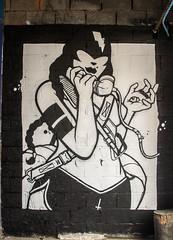keeping an eye on the telephone (PDKImages) Tags: art artinthecity manchesterstreetgallery manchester walls murals beauty woman lady girl pretty beautiful skull butterfly bee fish chicks alone joker thejoker sinister sneer hidden ladders checks skyline birds