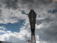 Old Docks, Swansea (brightondj) Tags: summer2016 summerholiday wales swansea art sculpture reflection water clouds sky