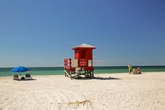 Colors at the Beach (wyojones) Tags: florida sandkey countypark sandkeybeach sand umbrellas lifeguardtower water waves beach gulfofmexico gulf