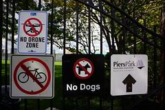 No Drone Zone, Boston MA (Boston Runner) Tags: eastboston harborwalk massachusetts 2016 tour bostonhabornow nodronezone signs warning entrance gate pierspark