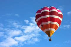 among the clouds (Karol Franks) Tags: hot air balloon sky clouds colors stripes adventure escape above albuquerque fiesta balloons flying soaring newmexico joy rising floating ride basket canon teamcanon