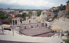 The Theatre (Stephanie Overton) Tags: plovdiv bulgaria europe travel film 35mm pentax epson scan buildings architecture ampitheatre history stone