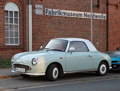 Figaro (Schwanzus_Longus) Tags: german germany japan japanese car vehicle old classic coupe coup two tone paint small compact nissan figaro cabrio cabriolet convertible fahrzeug auto outdoor delmenhorst sedan saloon spotted spotting carspotting