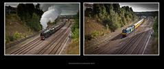 DRS class 68 Network Rail Test Train at Masbrough North - 9080+103 (Dao-Haiku) Tags: masbroughnorthjunction drs directrailservices class68 68021 tireless 68016 fearless 1z04 derbyrtctoheatontrsmd vossloh eastmidlandstrains ecs emptycoachingstock class43 hst highspeedtrain 43089 5f34 sheffieldtonevillehilltrsmd wcrc westcoastrailwaycompany pmrtours theprincessroyalclasslocomotiveclass theyorkshirecoronation lms londonmidlandscottishrailways coronationclass8p stanier462 46233 duchessofsutherland 1z61 staffordviaderbyyorktoscarborough templeboroughbiomass oldroad midlandmainline newyorkstadium millmoor boothsscrapyard masbroughstationnorthjunctionsignalbox buddleiahalt midlandironworks signals0423 signals0425 coach72631 plpr plainlinepatternrecognitioncoach coach6264 generatorvan imt infrastructuremonitoringtrain