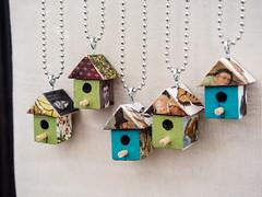 Tiny birdhouse pendants by Angela Lees, Sunny Asylum (marketkim) Tags: newproduct product eugene oregon saturdaymarket festival artfair eugenesaturdaymarket artfestival