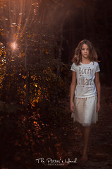 Born Brilliant (The Potter's Hand Photo) Tags: autumn fall nikon lensbaby sunlight backpack sunflare girl child harvest orange yellow golden light brunette browneyes forest trees shine brilliant rays flare beauty beautiful stunning edge80 composerpro nikond4s