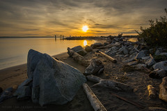 Golden Hour (iPhilFlash) Tags: fraserriver sunset water outdoor clouds vancouver beach hdr sky rocks cloud steveston garrypointpark outdoors canada britishcolumbia driftwood richmond dusk