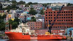 2016 - CPH-NYC Cruise - Canada, St. Joh's - ATLANTIC HAWK (Ted's photos - For Me & You) Tags: 2016 cphnyccruise canada cropped nikon nikond750 nikonfx stjohns tedmcgrath tedsphotos vignetting stjohnsharbour atlantichawk ut722 anchorhandlingtugsupplyvessel constructioncranes harbour cans2s