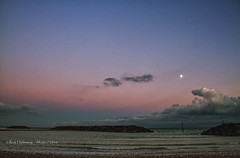 Elmer at dusk (rhfo2o - rick hathaway photography) Tags: rhfo2o canon canoneos7d elmer elmersands bognorregis westsussex beach sea seaside waves seadefences clouds sunset moon goldenhour