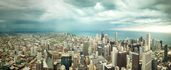 Stormy Skies Over Chicago [Panorama] (Jim | jld3 photography) Tags: chicago skyline cityscape pano panoramic panorama moody storms storm clouds architecture outdoor view stormy nikon d800 24mm 14g jld3 photography