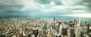 Stormy Skies Over Chicago [Panorama]