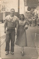 William and Ann Dugan on Market Street, early 1950's, Warren, Ohio (Downtown Warren History) Tags: warren ohio oh robins theater dugan family 1950s fifties americana trumbull county street scene