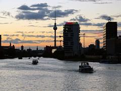 Watergate (michele.tedesco) Tags: berlino berlin eastsidegallery spree sprea deutsch deutschland german germany germania sunset river sailing tvtower colours sun ray lights
