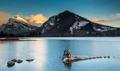 Rocky Mountain, Fire and Ice (davebrosha) Tags: winter sunset lake mountains ice nature landscape rockies photography photographer stock lakes rocky vermillion canadain