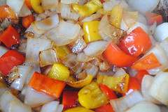 Onion & Pepper, Browning (DRodino) Tags: red food white cooking kitchen yellow digital dinner pepper nikon sauce onion redwine saute tomatosauce sautee pastasauce d3000