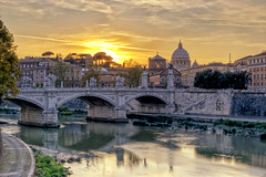 (ZacKak) Tags: life old city travel bridge trees sunset italy sun vatican rome color reflection history st horizontal skyline night river square outdoors photography gold italian ancient nikon europe european cityscape arch place roman dusk basilica traditional famous capital cities culture landmark scene panoramic illuminated ponte international angels dome tiber angelo riverbank peters past sant idyllic tranquil destinations berninis basilicast d3100