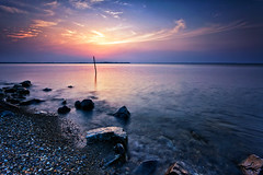 Peaceful Sunset (chibitomu) Tags: sunset sky lake nature water japan clouds canon landscape eos  ibaraki   canonef1740f4lusm  5dmarkii inashikishi  chibitomu