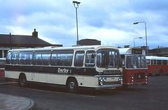Derby 27 Bus Station (Guy Arab UF) Tags: city blue bus buses station coach warrington derbyshire iii transport corporation leopard elite express 27 derby 1973 services leyland plaxton psu3b4r ded977l