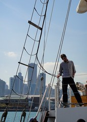 DSC09988 (Kate Hedin) Tags: sky lake chicago water lines skyline boat illinois ship michigan horizon sails windy rope pirate sail tall mast adventures