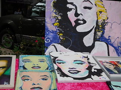 Marilyn Monroe (Just Back) Tags: woman girl canvas paint painting eyes hair face gesicht mouth smile teeth lippen lips nase nose augen blonde color original gaze art artistic kunst columbia sc carolina