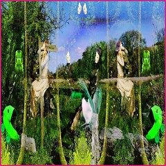 It Happened Here a Hundred Years Ago (Joe Vance aka oliver.odd) Tags: art abstract surreal fairy queen court green rural field figures ghosts colour light idea