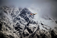 Low Flyer (Joseph Whitworth Photography) Tags: qantas aeroplane airplane takeoff flying flight a320 airbus plane aviation newzealand queenstown hills mountains snow nature outside light shadows wildlife new zealand canon eos 1100d eos1100d 55250