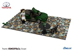 Toyota SERA Amlux (lego911) Tags: toyota sera amlux coupe butterfly door beetle auto car moc model miniland lego lego911 ldd render cad povray 1990s japan japanese lugnuts challenge 106 exclusiveedition exclusive limited special edition