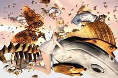 Hemelvlucht (Minh Noble) Tags: surrealisme surrealism second life clouds cureless moonamore taketomi maitreya lara fish