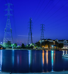 electric blue hour (pbo31) Tags: california bayarea nikon d810 color august 2016 summer boury pbo31 northerncalifornia blue bluehour reflection canal power lines fostercity sanmateocounty panoramic large stitched panorama lightstream