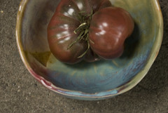 purple calabash tomato in small bowl (karenchristine552) Tags: ceramics clay gardening pennsylvania philadelphia pottery purplecalabash tomatoes universitycity westphiladelphia