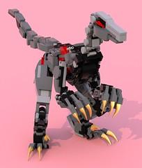 Dinobot  Letia 2 (pb0012) Tags: ldd lego moc brick robot robo mech mecha mechanoid android fembot red letia  dinobot autobot transformers transformer dino dinosaur velociraptor raptor